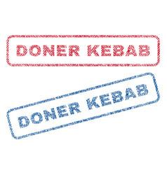 Doner kebab textile stamps vector
