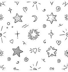 doodle star seamless pattern magic party sketch vector image
