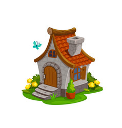 Dwarf gnome and fairy elf house hut garden vector