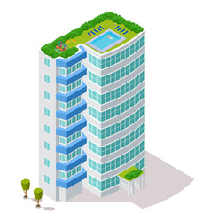 ecological concept hotel building with rest vector image