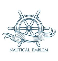 engraving nautical emblem vector image