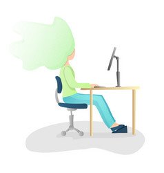 ergonomic healthy correct sitting spine posture vector image