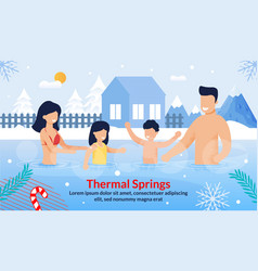 Family visiting thermal springs on vacation poster vector