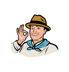 Farmer logo funny adult man in a hat vector