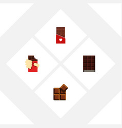 flat icon bitter set of cocoa chocolate dessert vector image