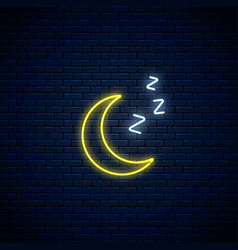 Glowing neon sleepy moon icon with zzz symbol vector