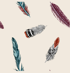 Hand drawn seamless background colored feathers vector