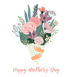 happy mothers day template with flowers vector image