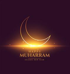 Happy muharram shiny card design with crescent vector