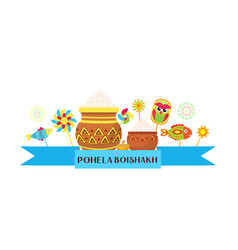 Happy pohela boishakh banner bengali new year vector