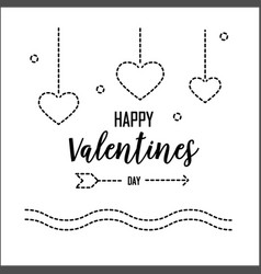 Happy valentines day greeting card with dash line vector