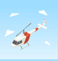 helicopter white and red color isometric vector image vector image