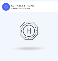 Helipad icon filled flat sign solid vector