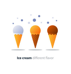 Ice cream cone chocolate glazing tasty flavor cool vector