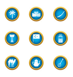 Islamic way icons set flat style vector