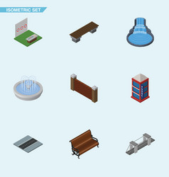 Isometric city set of garden decor aiming game vector