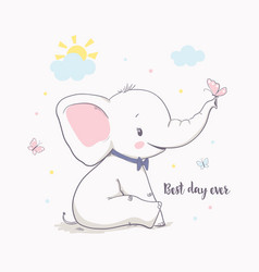 little elephant with butterfly vector image