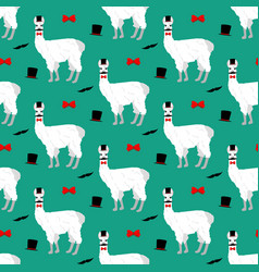 Llama with mustache seamless pattern vector