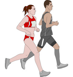 marathon runners couple vector image