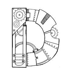 Mechanical letter d engraving vector