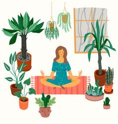 meditating woman at home vector image