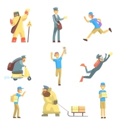 Messengers And Courier Men At Work Set vector