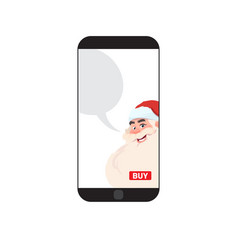 modern smart phone with santa image merry vector image