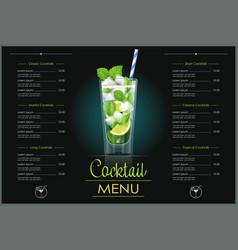 Mojito glass cocktail menu vector