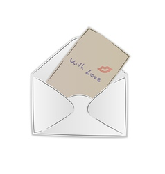 opened postal envelope with love letter and kiss vector image