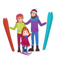 Parents skiers with daughter in snow mountains vector