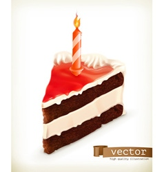 Piece cake with a candle icons vector