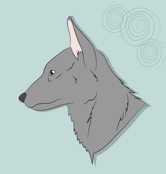 portrait of a gray wolf on a background vector image
