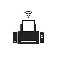 printer wireless icon blank and white or vector image