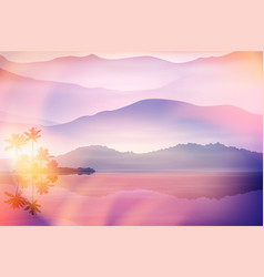 Purple summer background with sea and palm trees vector