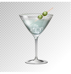 Realistic cocktail martini glass vector