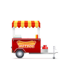 realistic red hot dog cart with striped canopy vector image
