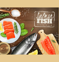 Realistic salmon background vector