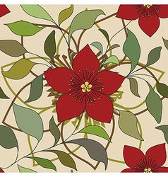 red color flower pattern vector image