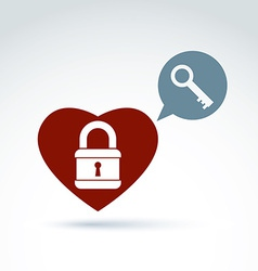 red heart with a padlock isolated on white vector image