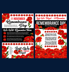remembrance day banner with red poppy flower vector image