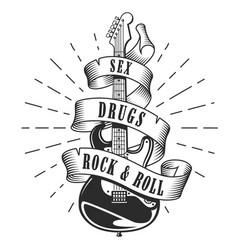 Retro print for rock guitar music festival vector