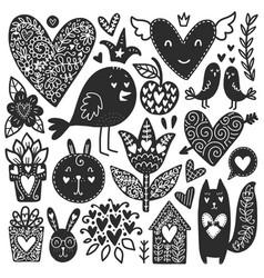 romantic doodles elements vector image