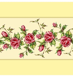 rose pattern on yellow horizontal vector image