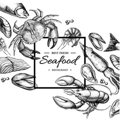 Seafood hand drawn framed vector