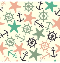 Seamless pattern of helm anchor starfish vector