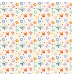 seamless pattern with flowers and butterflies vector image