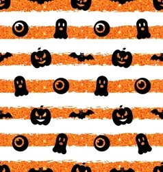 Seamless Texture with Pumpkin Bat Spooky Eye vector image