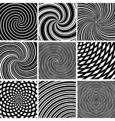 Set abstract twirl background bw 2 vector
