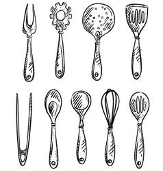 set kitchen utensils vector image