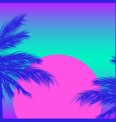 silhouettes palm trees on a gradient background vector image